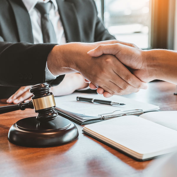 lawyer shaking hands